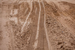 Tread pattern of a truck tire in soft soil Stock Photography