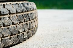 Tread of the used tires royalty free stock photography