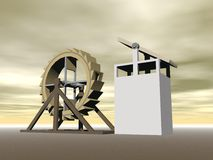 Tread-wheel machine-gun, L. da Vinci - 3D render Stock Images
