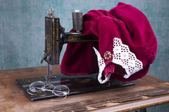 Treadle sewing machine. Antique treadle black sewing machine Royalty Free Stock Photography