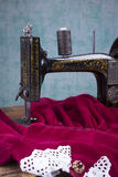 Treadle sewing machine. Black antique treadle sewing machine Royalty Free Stock Images