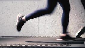 Treadmill καρδιο workout - κινηματογράφηση σε πρώτο πλάνο λεπτομέρειας των όμορφων ποδιών Το Sculpt, μορφή και καθορίζει τα πόδια απόθεμα βίντεο