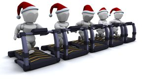 Treadmill. 3D render of santas on treadmills Royalty Free Stock Photos