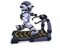 Treadmill. 3D render of a robot on a treadmill Royalty Free Stock Image