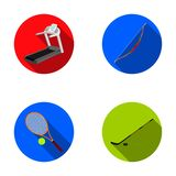 Treadmill, bow for shooting, ball with tennis ball, stick with washer for hockey. Sport set collection icons in flat. Style vector symbol stock illustration Royalty Free Stock Image