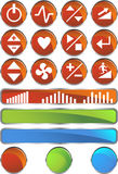 Treadmill Buttons: Shiny Round Set. Set of 12 treadmill exercise buttons - red round Stock Image