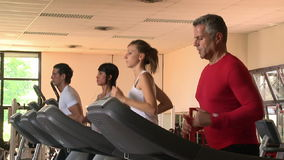 Treadmill exercises at gym. Group of healthy people exercising with treadmill at gym. Athletic people running focused on treadmill. Four sports persons run at stock video footage