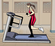 Treadmill fitness - Colorful illustration. Artistic illustration: young woman running on a treadmill stock illustration