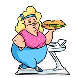 Treadmill fitness diet fat woman cartoon Royalty Free Stock Image