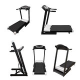 Treadmill fitness equipment isolated on white background assembled, raised Stock Image