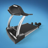 Treadmill and fitness exercise equipment dumbbell weights on .  render  Stock Photo