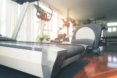 Treadmill and fitness gym workout equipment Stock Photo
