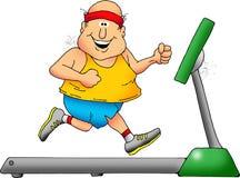 Treadmill Guy. Cartoon of a smiling chubby man on a treadmill Stock Photos