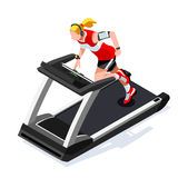 Treadmill Gym Class Working Out. Gym Equipment Treadmill  Stock Image