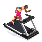 Treadmill Gym Class Working Out. Gym Equipment Treadmill Running Athlete Runners Working Out Gym Class. 3D Flat Isometric Marathon. Runners athlete training Stock Photo