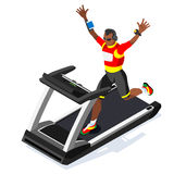 Treadmill Gym Class Working Out. Gym Equipment Treadmill Running Athlete Runners Working Out Gym Class. 3D Flat Isometric Marathon. Runners athlete training Royalty Free Stock Photo