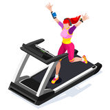 Treadmill Gym Class Working Out. Gym Equipment Treadmill Running Athlete Runners Working Out Gym Class. 3D Flat Isometric Marathon. Runners athlete training Royalty Free Stock Photos