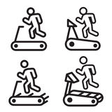 Treadmill icon in four variations. Vector illustration. Royalty Free Stock Images