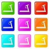 Treadmill icons 9 set. Treadmill icons of 9 color set isolated vector illustration Stock Photography