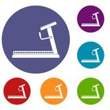 Treadmill icons set. In flat circle reb, blue and green color for web Royalty Free Stock Image