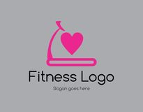 Treadmill love logo. A treadmill fitness logo with a heart symbol Stock Photo
