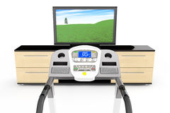 Treadmill Machins with TV Royalty Free Stock Photos
