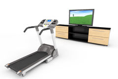 Treadmill Machins with TV Royalty Free Stock Image