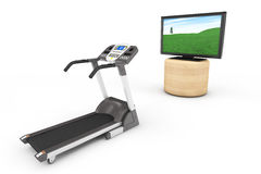 Treadmill Machins with TV Stock Photos