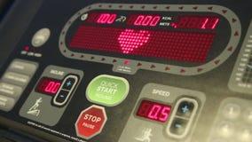 Treadmill Monitor. With heart beat shape stock footage