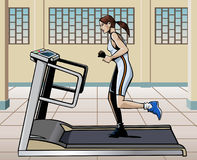 Treadmill running. Illustration of a young woman running on a treadmill in a modern gym Stock Images