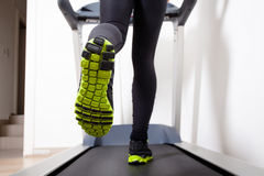 Treadmill running shoes Stock Photography