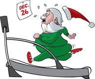 Treadmill Santa. A cartoon Santa running on a treadmill and trying to lose some weight following the holidays. Vector and high resolution jpeg files available Royalty Free Stock Photo