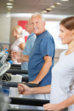 Treadmill training in fitness Royalty Free Stock Photos