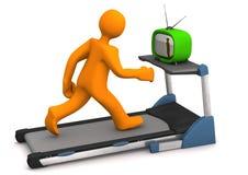 Treadmill TV. Orange cartoon character with TV on the treadmill. White background Stock Photos