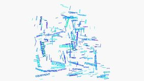Treadmill Word cloud metaphor to health, nutrition, diet, wellness, body, stock video