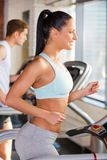 Treadmill workout. Royalty Free Stock Images