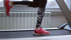Treadmill. Young sportswoman in training at the gym. Side view. Slow motion stock footage