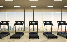Treadmills in fitness gym Royalty Free Stock Image