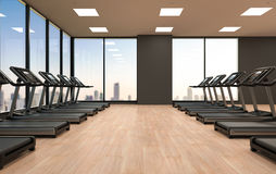 Treadmills in fitness gym Stock Photo