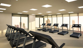 Treadmills in fitness gym Stock Image
