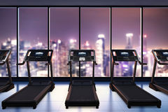 Treadmills in fitness gym Stock Images