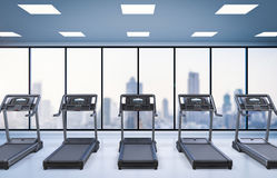 Treadmills in fitness gym Stock Photography