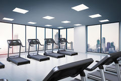 Treadmills in fitness gym Royalty Free Stock Photos