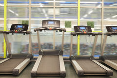 Treadmills in a fitness hall Royalty Free Stock Photography