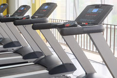 Treadmills in a fitness hall Royalty Free Stock Images