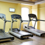 Treadmills in a fitness hall Royalty Free Stock Photo