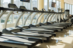Treadmills in gym. Stock Photos