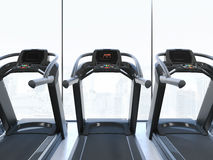 Treadmills in interior with big clear windows. 3d rendering Royalty Free Stock Photo