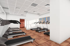 Treadmills in a row in the gym Royalty Free Stock Photos