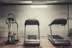 Treadmills set in gym stock photography